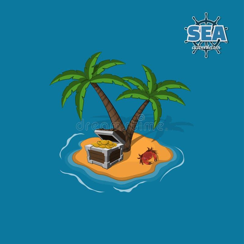 Пиратствуйте остров с сокровищами на голубой предпосылке Тропический остров с ладонями и игрой черни комода иллюстрация штока