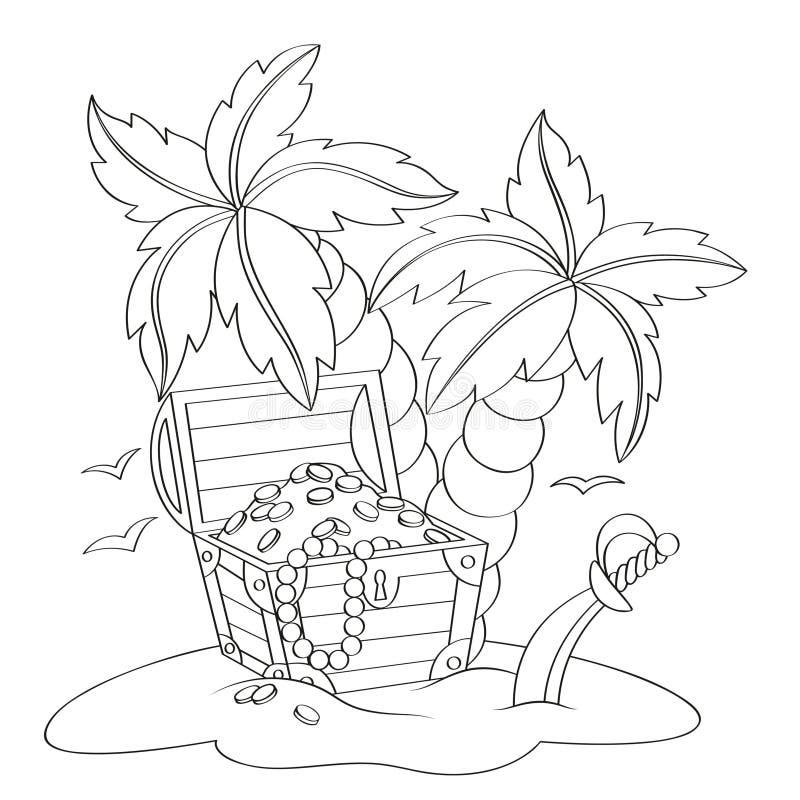 Пиратствуйте сундук с сокровищами ` s на дезертированном пляже с пальмами иллюстрация вектора
