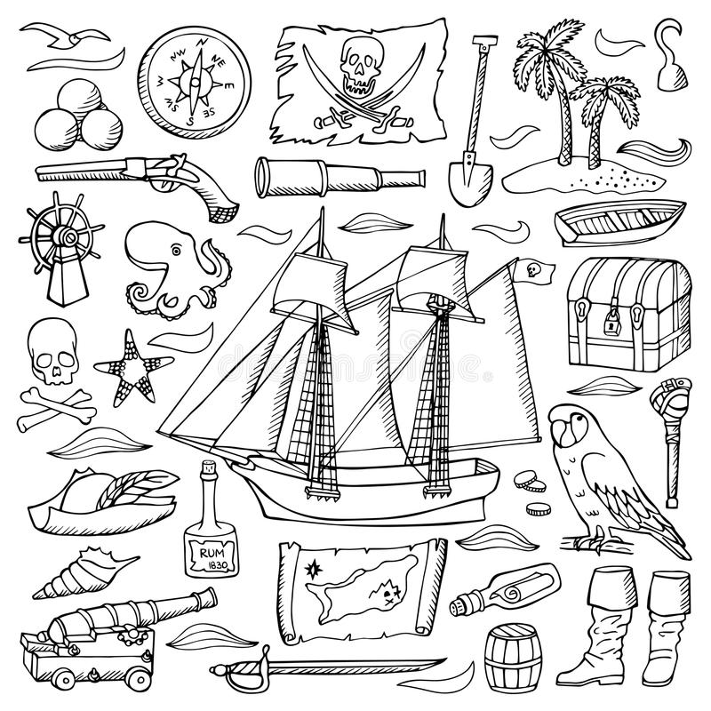 Пираты вручают вычерченный комплект иллюстрация штока