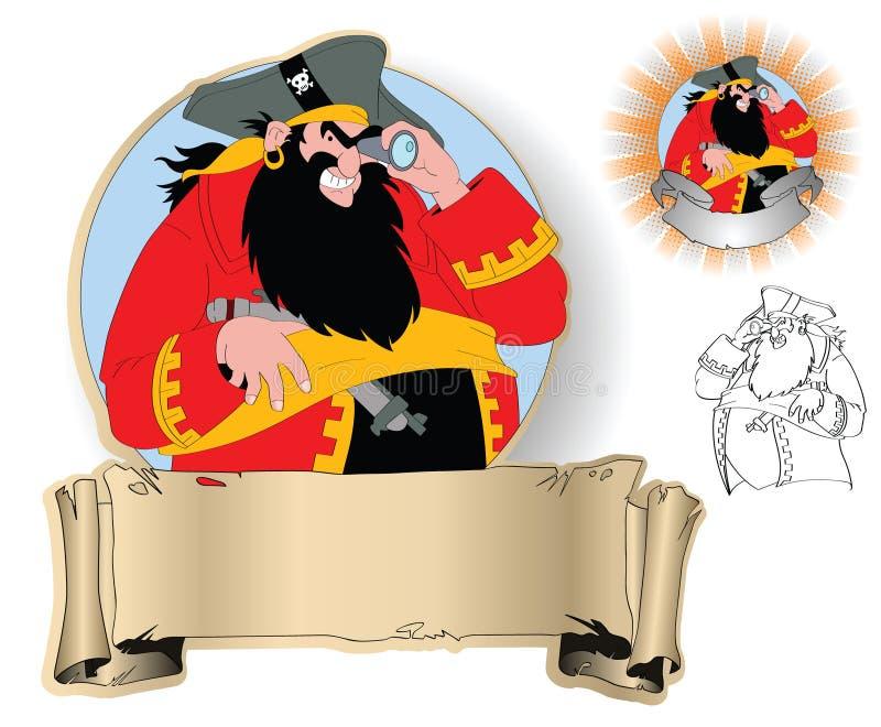 пираты капитана иллюстрация вектора