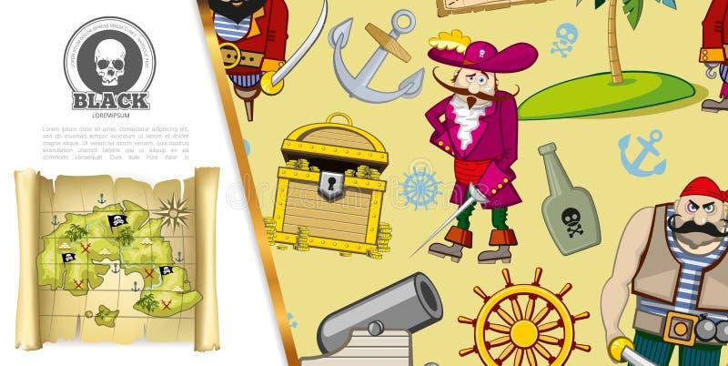 Пираты мультфильма рискуют концепция иллюстрация вектора