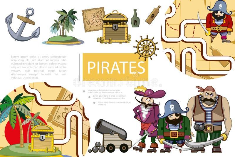 Пираты мультфильма рискуют состав иллюстрация штока