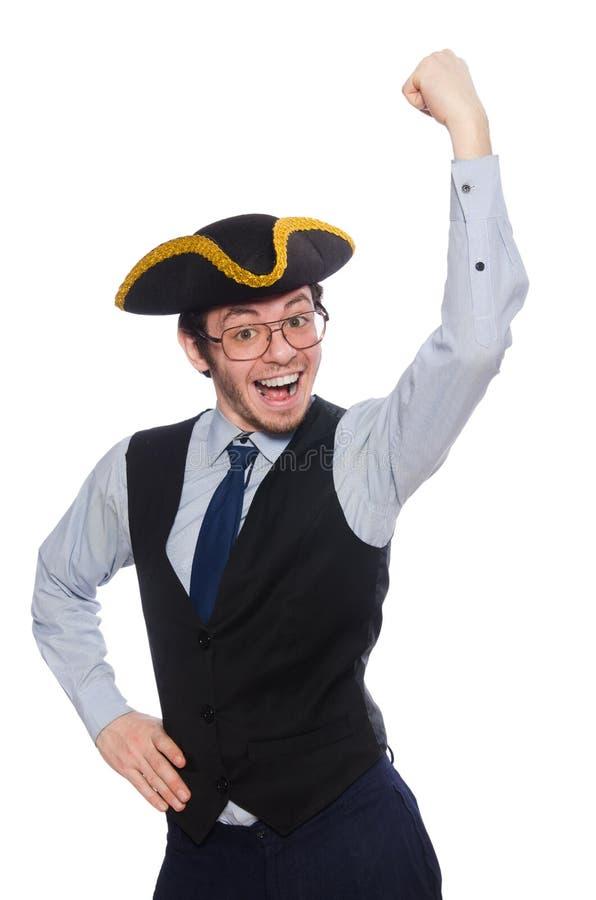 Пират бизнесмена изолированный на белой предпосылке стоковое фото
