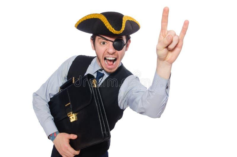 Пират бизнесмена изолированный на белой предпосылке стоковые фотографии rf