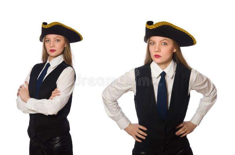 Пират босса женщины изолированный на белизне стоковые изображения rf