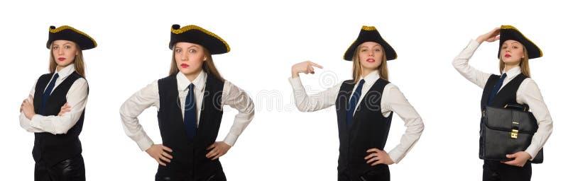 Пират босса женщины изолированный на белизне стоковая фотография