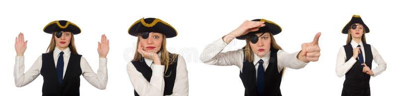Пират босса женщины изолированный на белизне стоковые фотографии rf