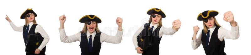 Пират босса женщины изолированный на белизне стоковые фото