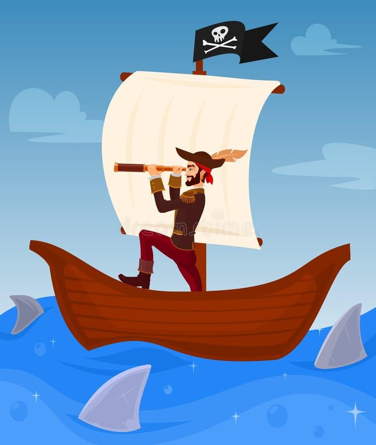 Пират водит его корабль иллюстрация вектора
