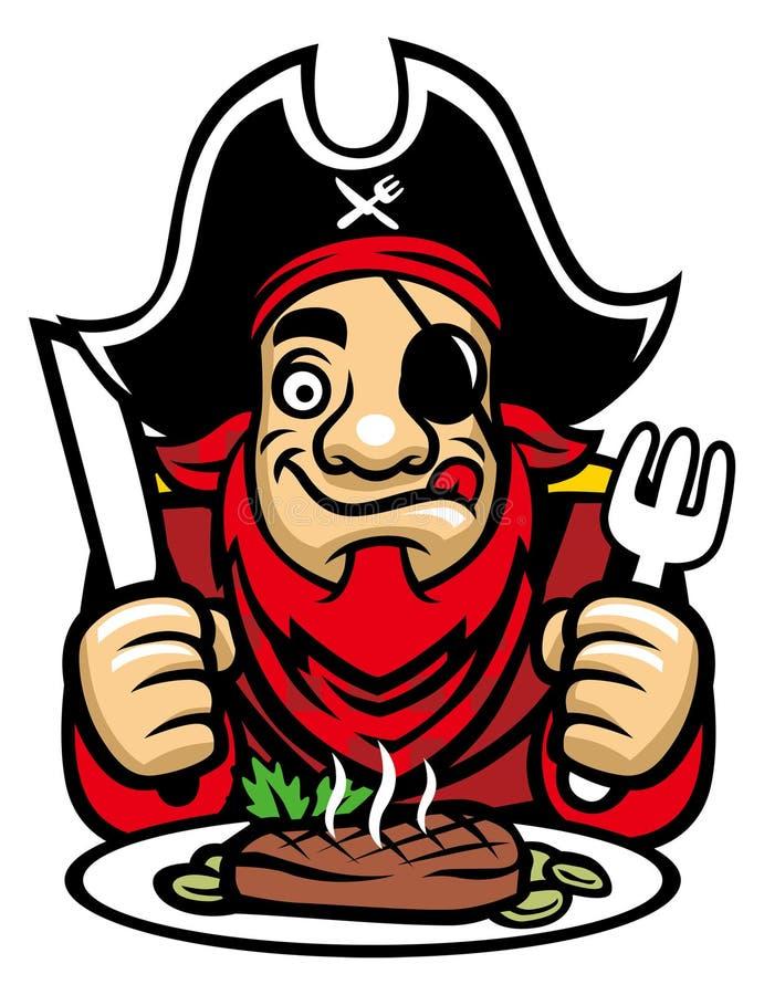 Пират ест стейк иллюстрация штока
