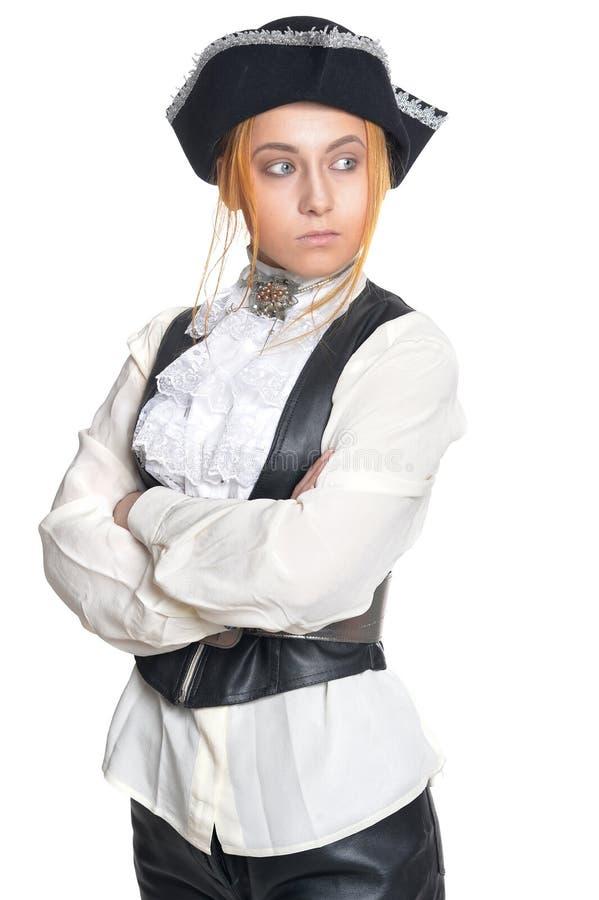 Пират женщины в старых винтажных одеждах стоковые фото