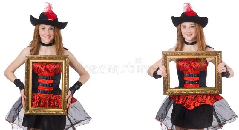 Пират женщины с картинной рамкой изолированной на белизне стоковые фото