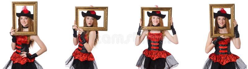 Пират женщины с картинной рамкой изолированной на белизне стоковая фотография