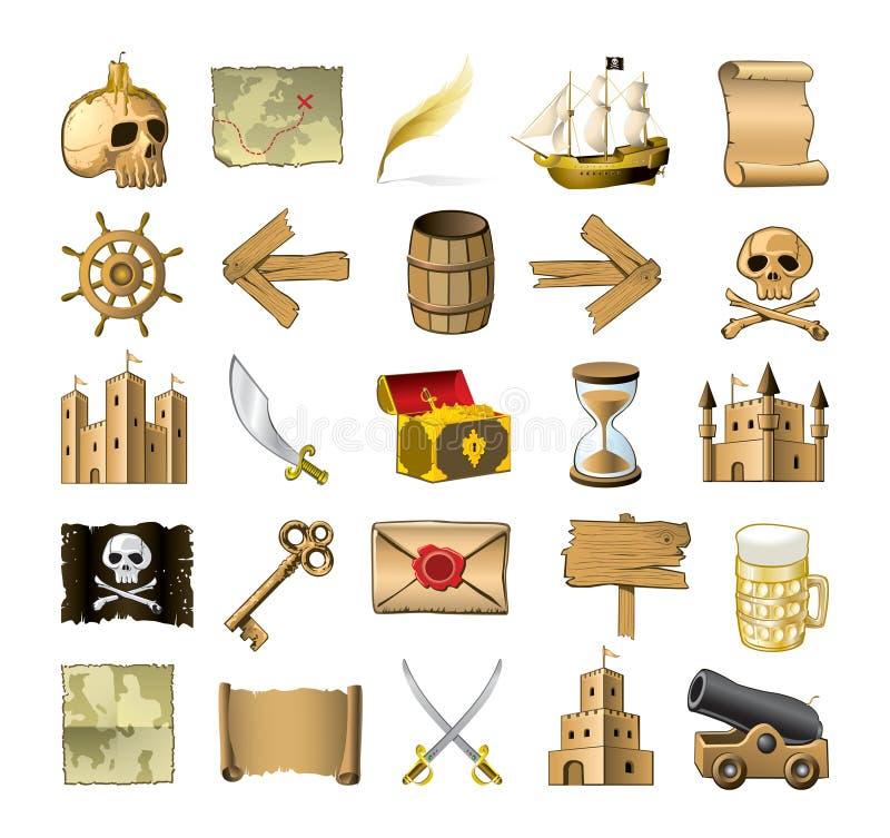 пират икон иллюстрация вектора