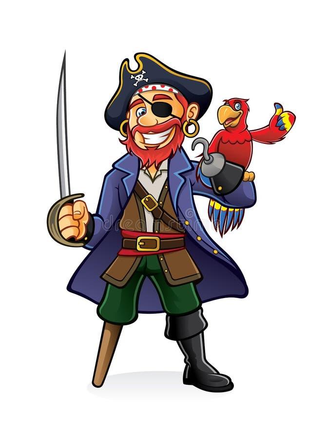 Пират и попугай иллюстрация штока