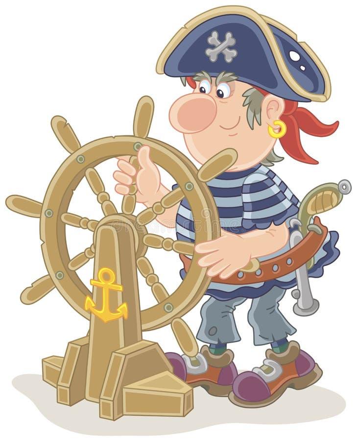 Пират на его старом руле корабля бесплатная иллюстрация