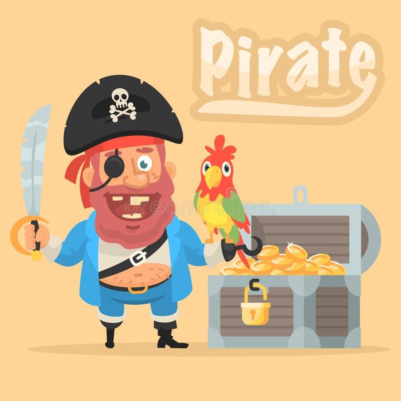 Пират с попугаем и комодом с золотом иллюстрация штока