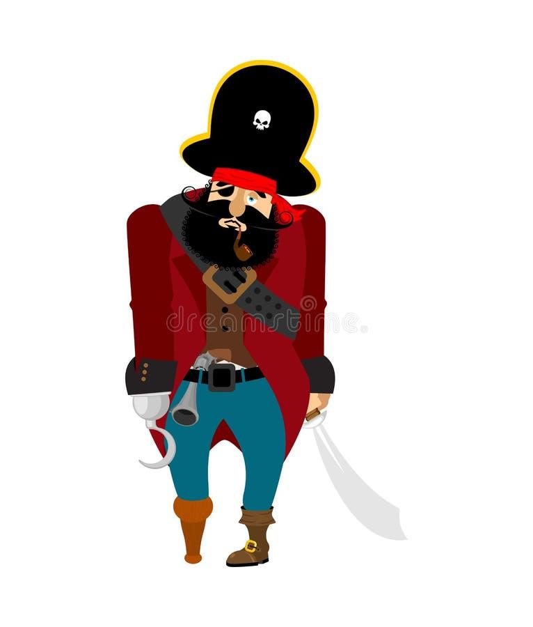 Пират унылый тоска флибустьера депрессия пиратсва вектор иллюстрация штока