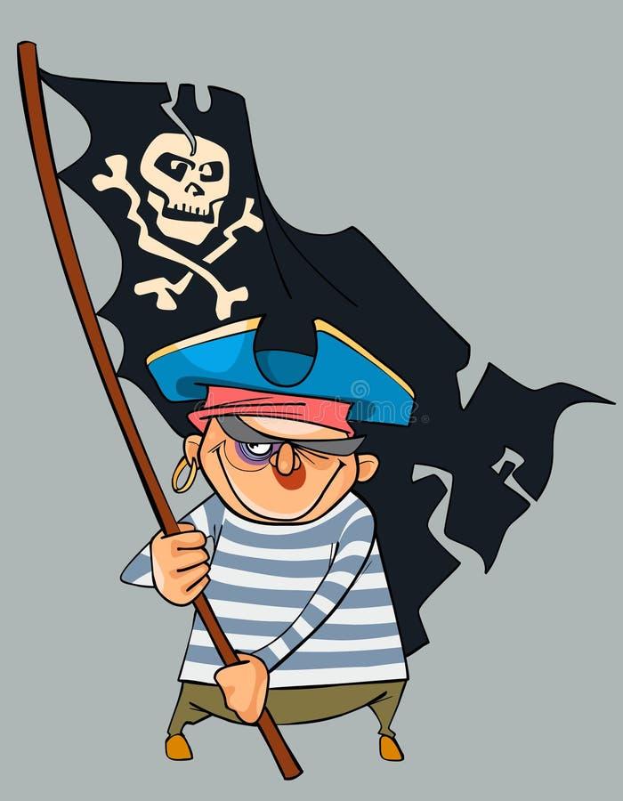 Пират шаржа при синяк держа флаг пирата иллюстрация штока
