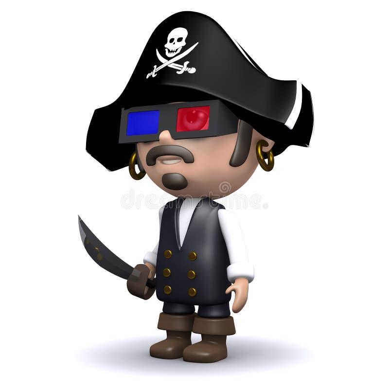 пират 3d смотрит кино 3d бесплатная иллюстрация