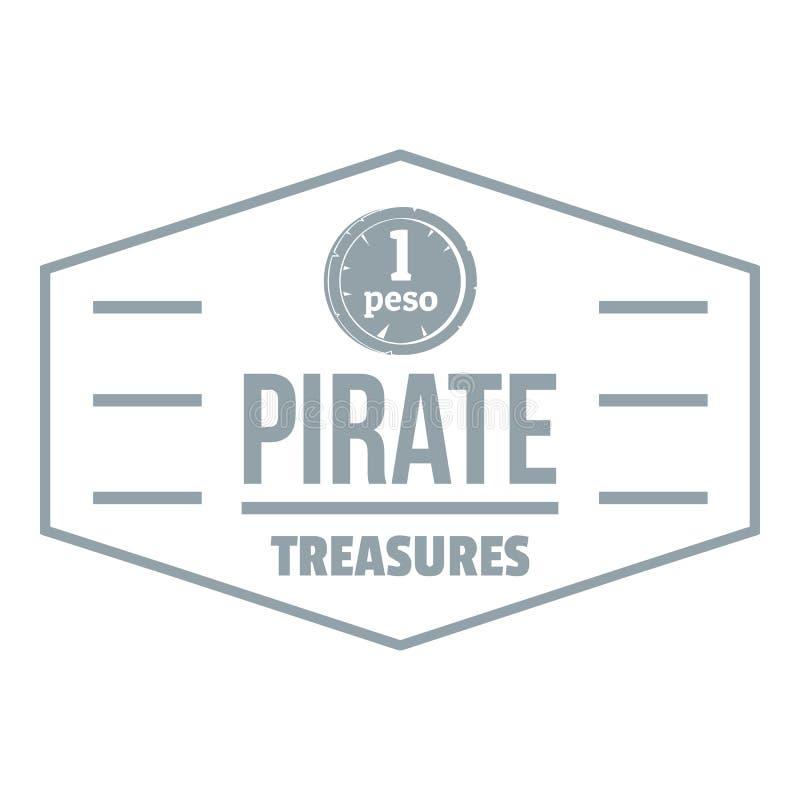 Пират treasures логотип, простой серый стиль иллюстрация штока