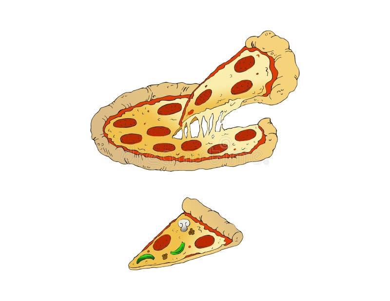 Пирог пиццы пиццы Pepperoni с кусками стоковые изображения