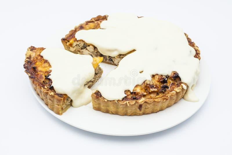Пирог цыпленка с соусом грибов, сыра и чеснока на белом pla стоковые изображения