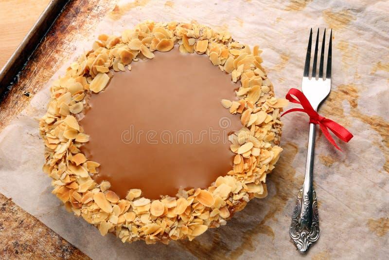 Пирог шоколада с заскрежетанным кокосом стоковое изображение
