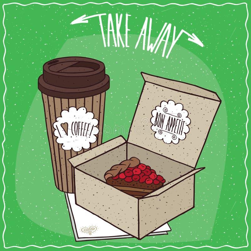 Пирог ягоды в коробке и кофе коробки в бумажном стаканчике иллюстрация вектора