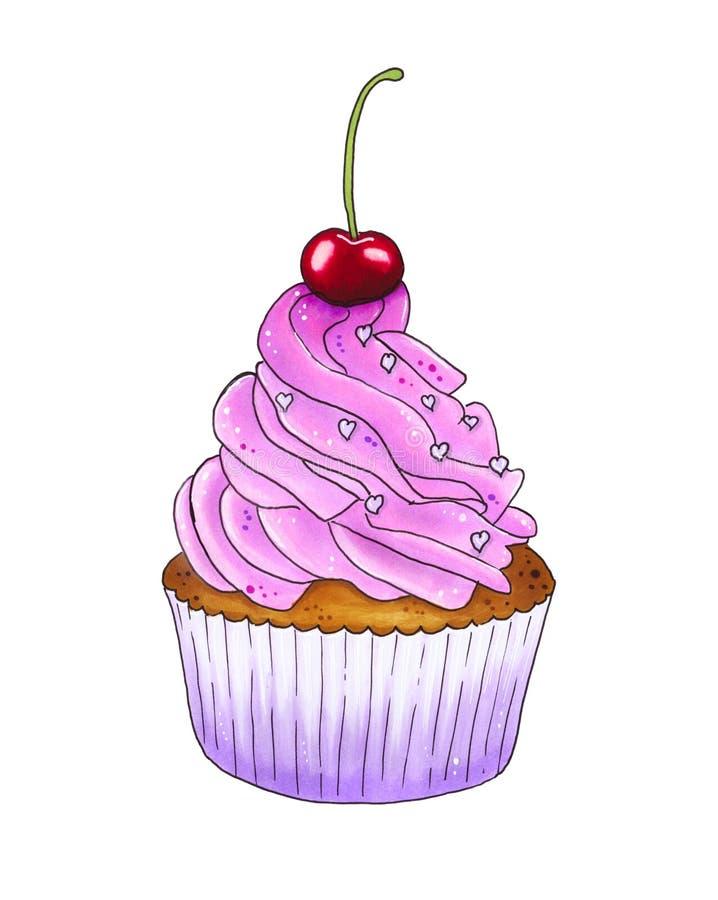 Пирожное вишни с вишнями бесплатная иллюстрация