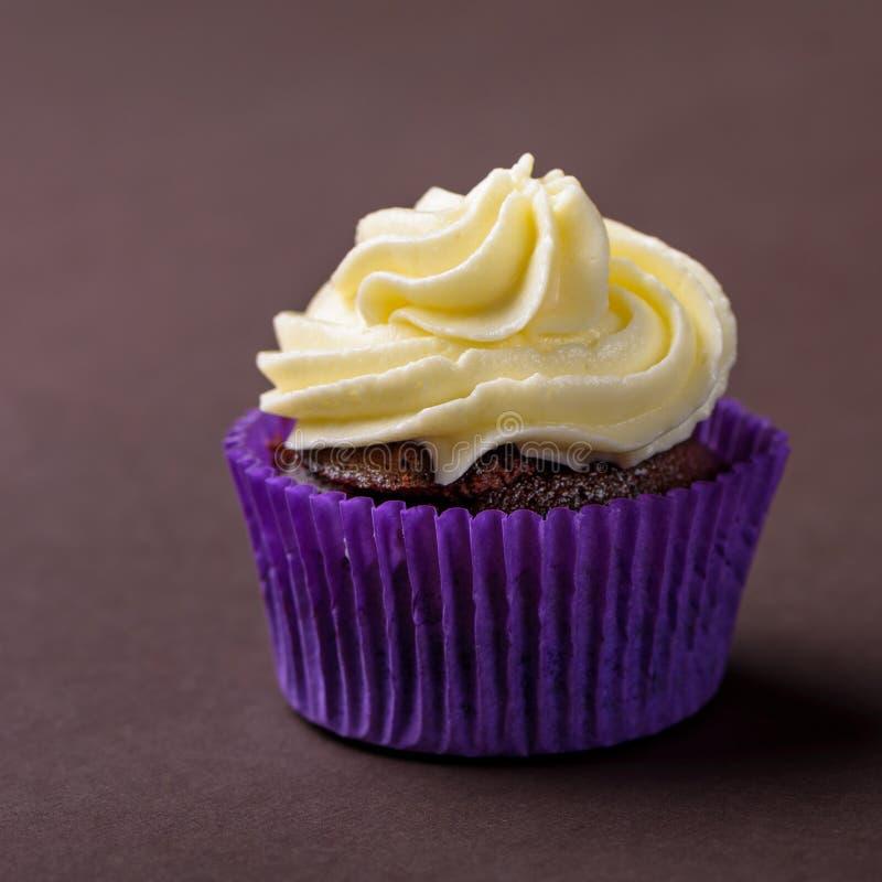 Пирожное в пурпурном обруче на темной коричневой предпосылке Минималистский космос экземпляра стоковые изображения rf