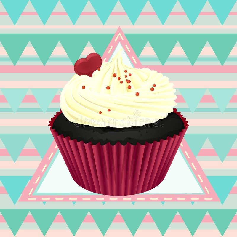 Пирожное и обои иллюстрация вектора