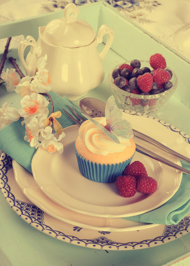 Пирожное и ягоды бабочки ретро винтажного фильтра красивые стоковые фото