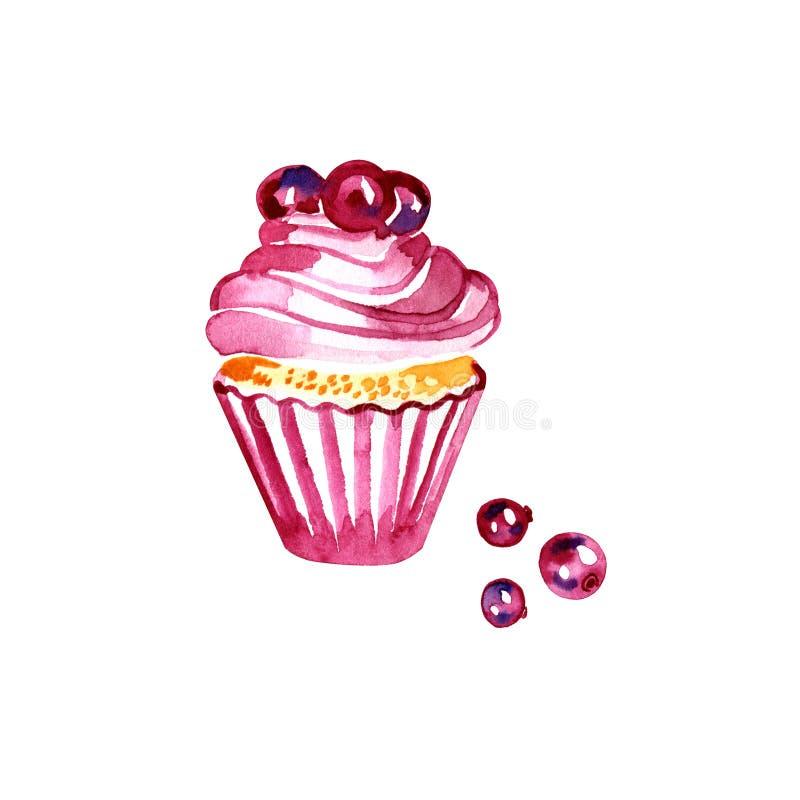 Пирожное рождества акварели с клюквой ягоды Иллюстрация акварели изолированная на белой предпосылке вычерченная рука иллюстрация штока