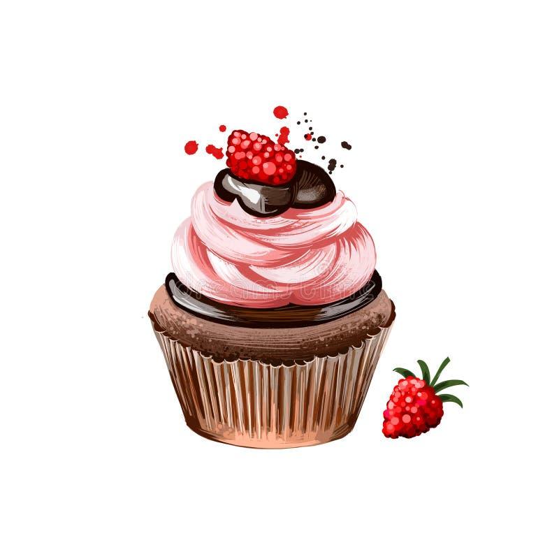 Пирожное со сливк поленики и шоколадом, булочкой изолированной на белой предпосылке Еда улицы, на вынос, взятие-вне Быстрый иллюстрация штока