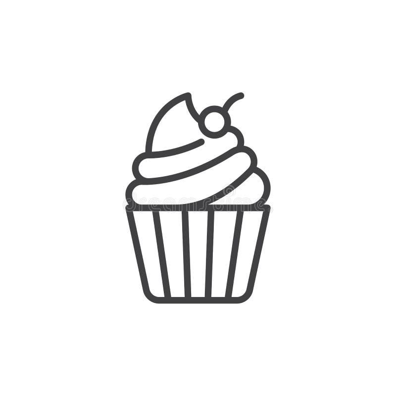 Пирожное с вишней на верхней линии значке иллюстрация штока