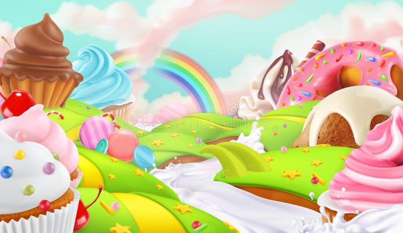Пирожное, fairy торт Сладостный ландшафт, предпосылка вектора иллюстрация вектора