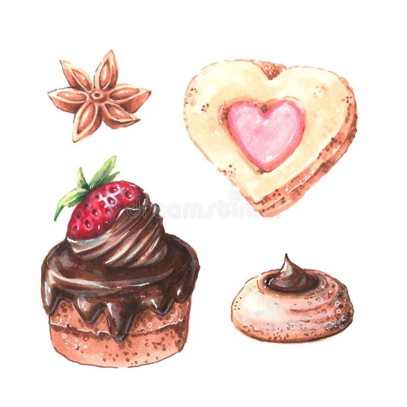 Пирожные акварели установили с разным видом пирожных: клубника, голубика, шоколад цитрус, поленика изолировано иллюстрация вектора