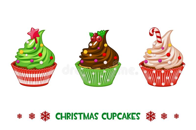 Пирожные шаржа вектора с Рождеством Христовым иллюстрация вектора