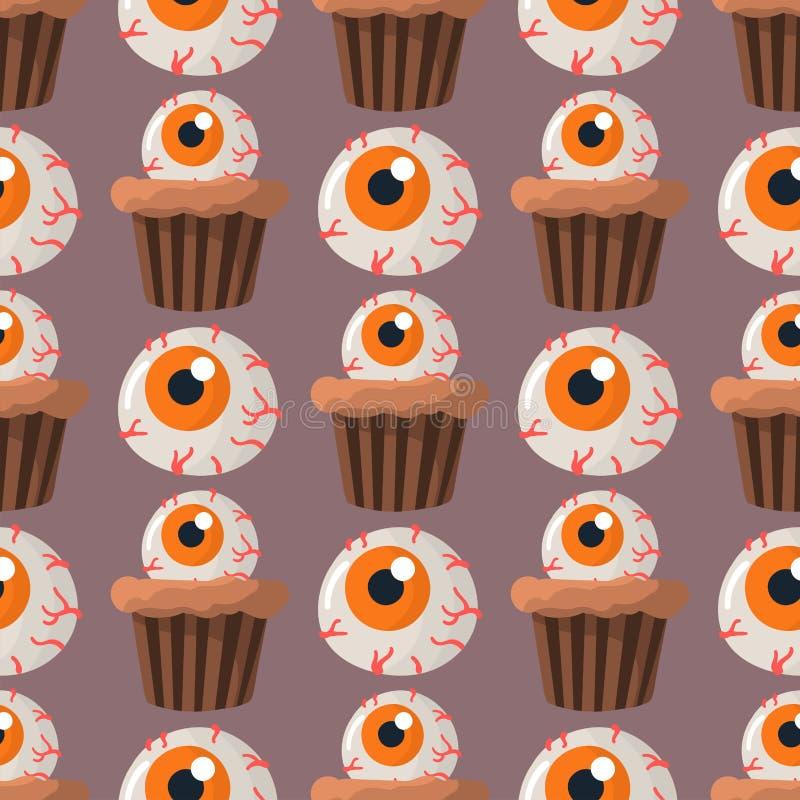 Пирожных помадок партии хеллоуина печенья картины красочных безшовные испекут иллюстрацию вектора конфет иллюстрация вектора