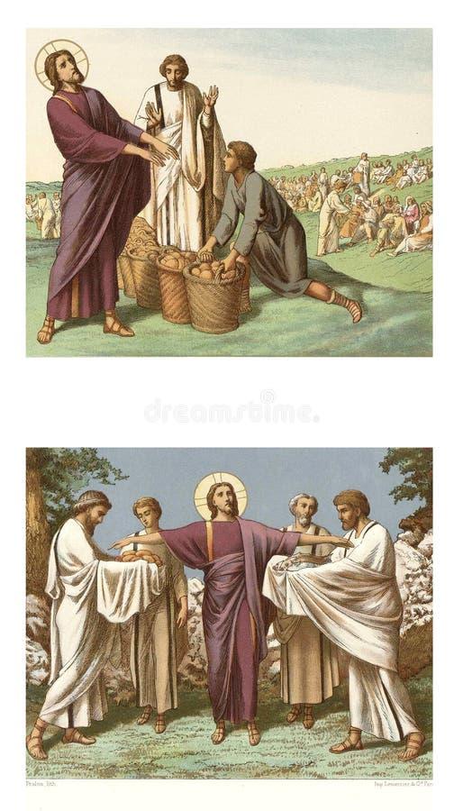 Пиршество от 5 хлебцев и 2 рыб бесплатная иллюстрация
