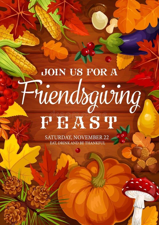 Пиршество Friendsgiving, обедающий potluck благодарения иллюстрация штока