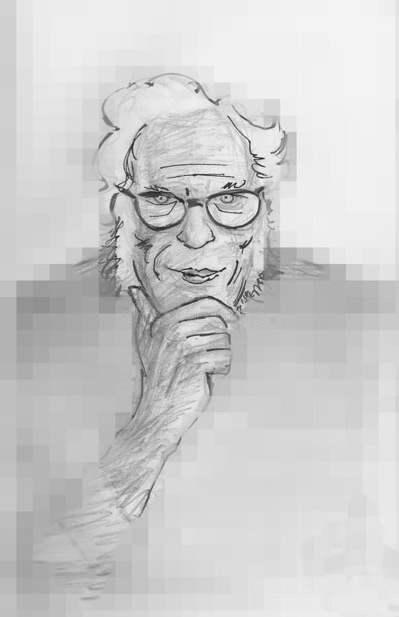 Писатель научной фантастики Исаак Asimov американский иллюстрация вектора