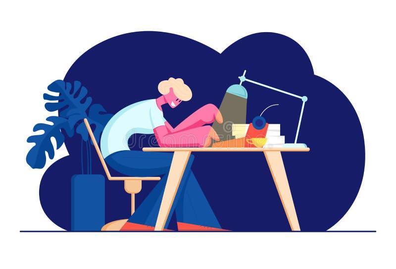 Писатель сидя на таблице с сияющей лампой, чашкой и бумажным печатанием кучи на машинке Творческое хобби, занятие, талантливый ав иллюстрация штока