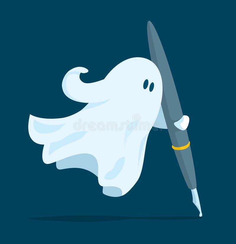 Писатель призрака держа ручку иллюстрация вектора