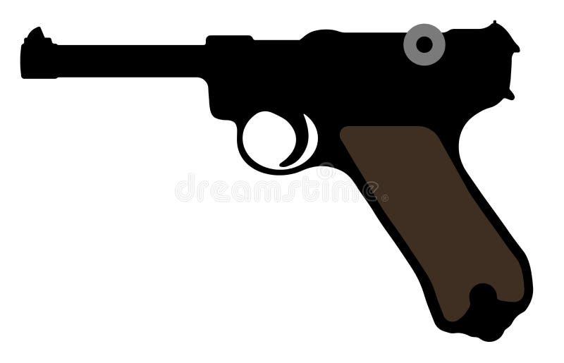 Пистолет Luger, оружие Parabellum Оружие силуэта вектора бесплатная иллюстрация