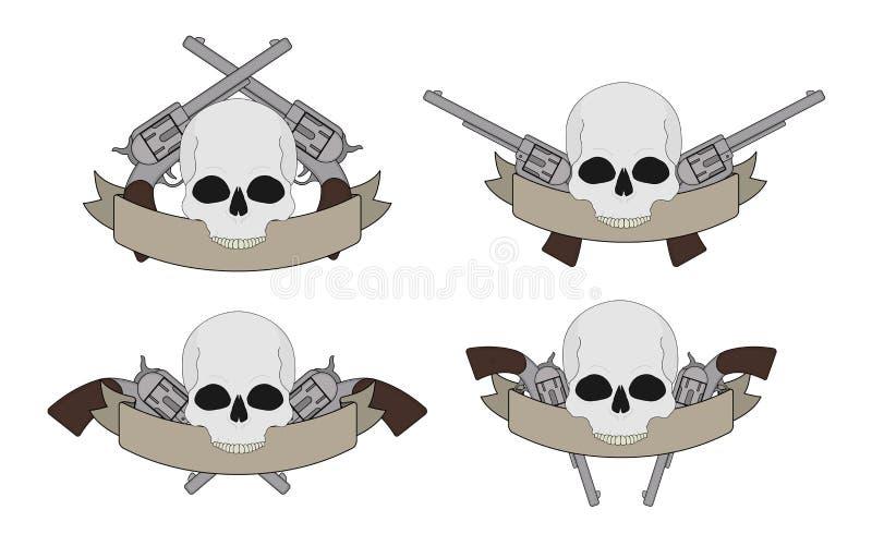 Пистолеты Диких Западов и знамена черепа бесплатная иллюстрация