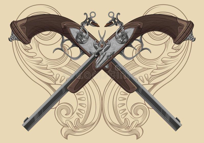Пистолет кремнёвого замка иллюстрация штока