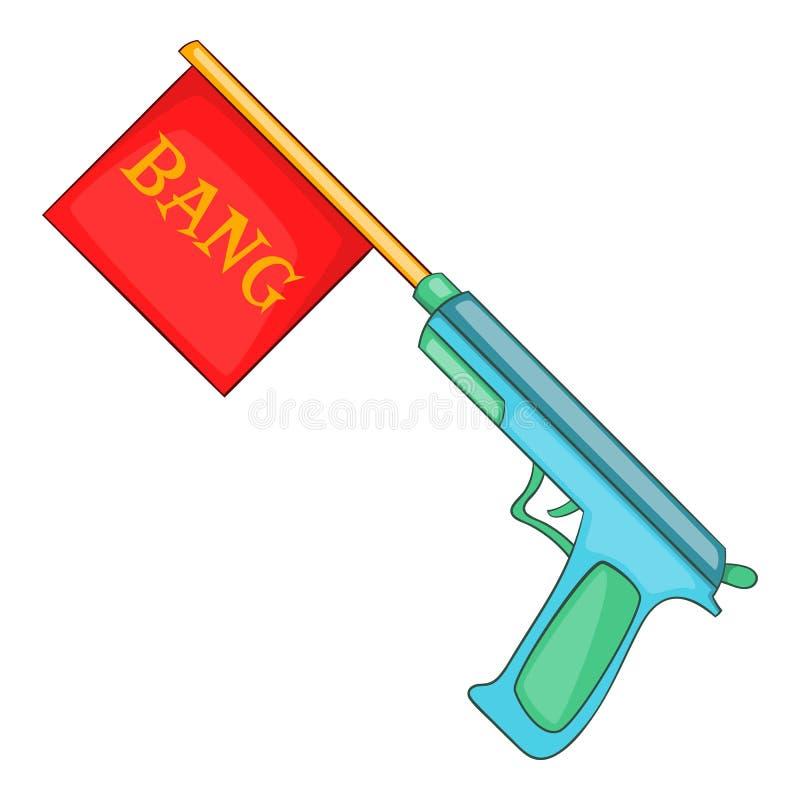 Пистолет с значком флага челки, стилем шаржа иллюстрация вектора