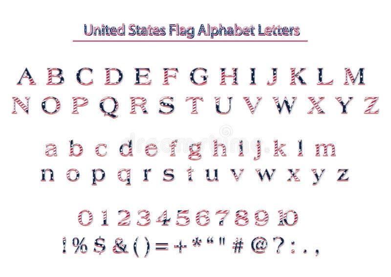 Письма алфавита вектора флага США Америки патриотические бесплатная иллюстрация